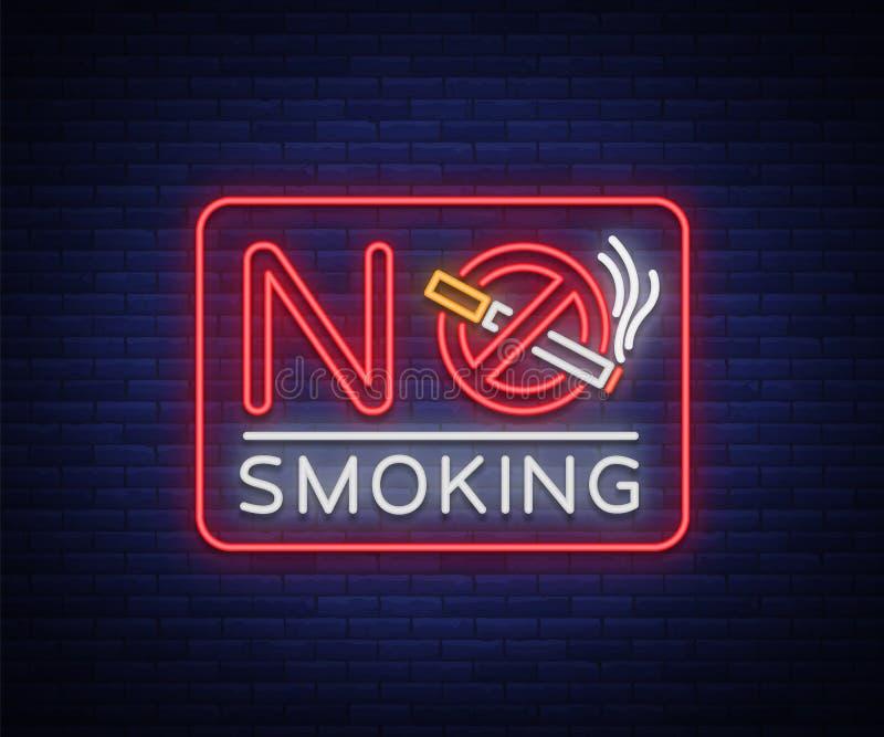 Nr - rokend neonteken Helder karakter, neonbanner, pictogram, lichtgevend waarschuwingsbord van het roken in een onbevoegde plaat royalty-vrije illustratie