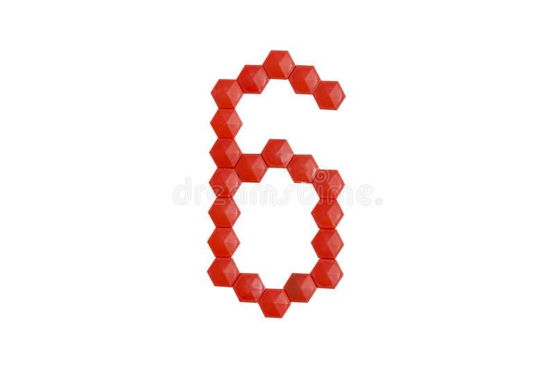 Nr. sechs vom roten Mosaik auf einem weißen Hintergrund Es ist ein Isolat vektor abbildung
