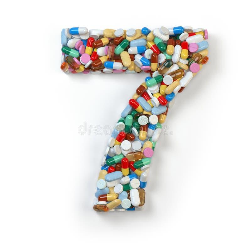 Nr. 7 sieben Satz des Alphabetes der Medizinpillen, Kapseln lizenzfreie abbildung