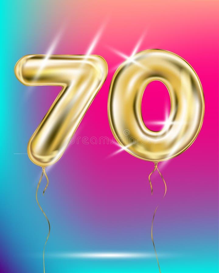 Nr. siebzig, Goldfolienballon auf Steigung lizenzfreie abbildung