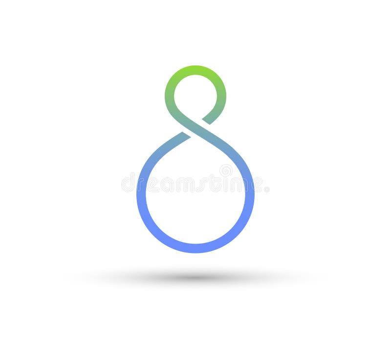 Nr. 8, Unendlichkeit schlug Logo Vektor leicht Schleife, modern lizenzfreie abbildung