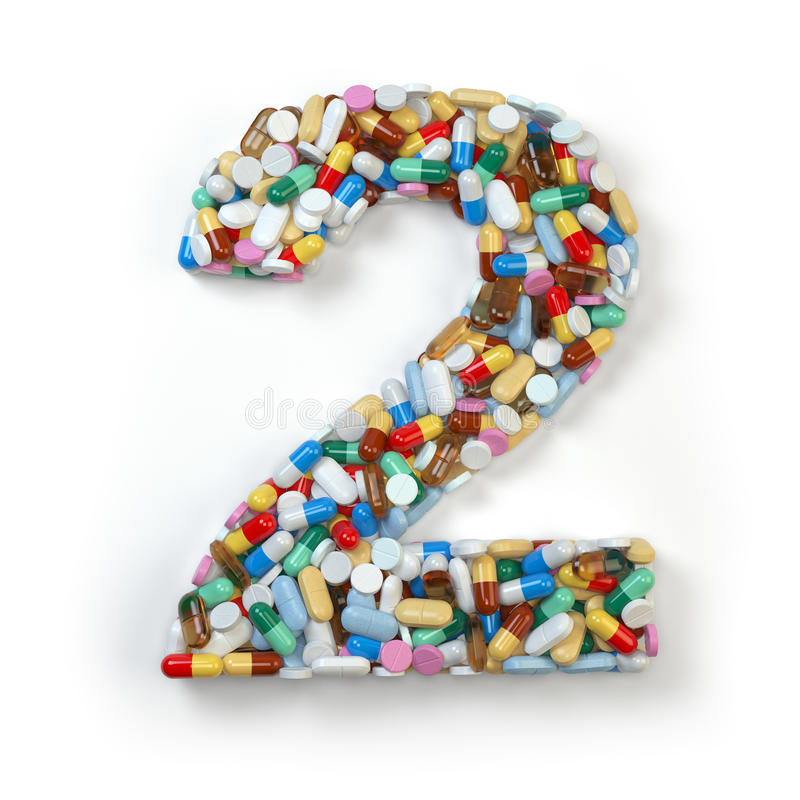 Nr. 2 zwei Satz des Alphabetes der Medizinpillen, Kapseln stock abbildung