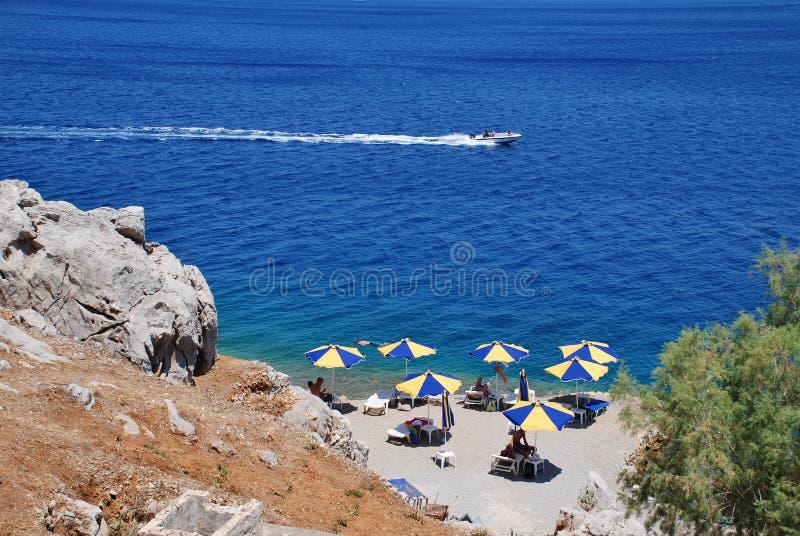 Nrs.-strand, Symi-eiland royalty-vrije stock afbeelding