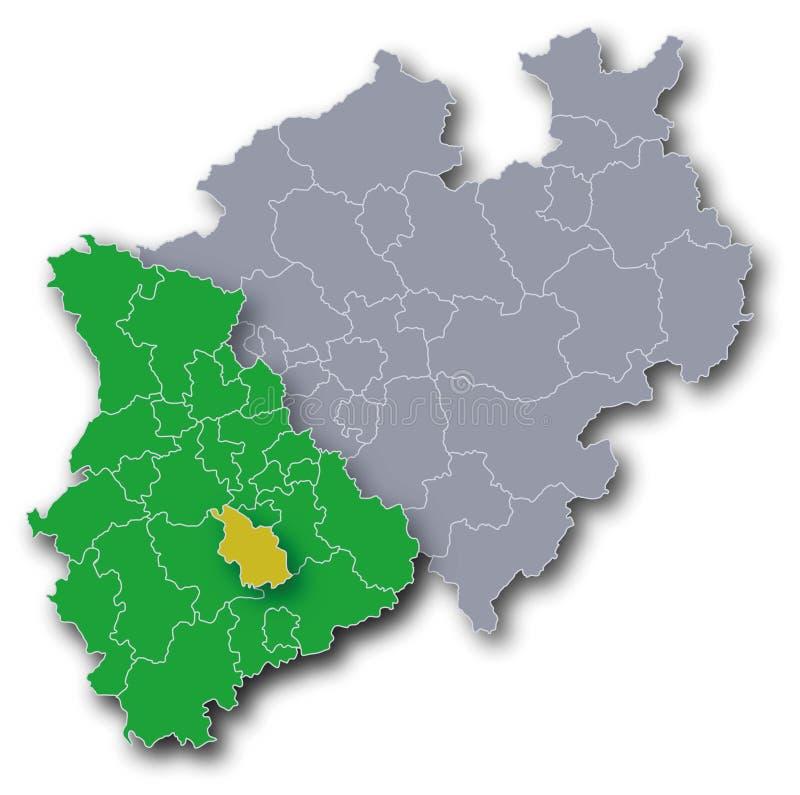 NRW mapa z Rhineland i Kolonia ilustracji