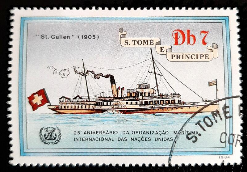 Old stamp with the image of sea transport, ships, fleet royalty free stock image