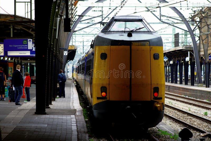 NS Train at platform Railwaystation Utrecht, Holland, the Netherlands stock image