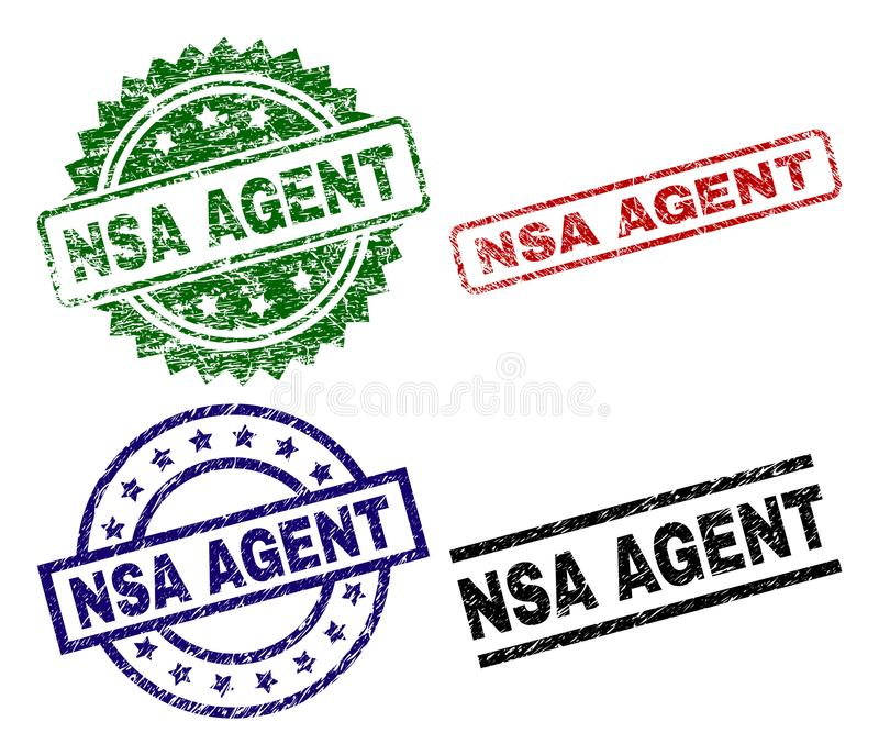 Scratched Textured NSA AGENT Stamp Seals. NSA AGENT seal prints with distress texture. Black, green,red,blue vector rubber prints of NSA AGENT tag with scratched vector illustration