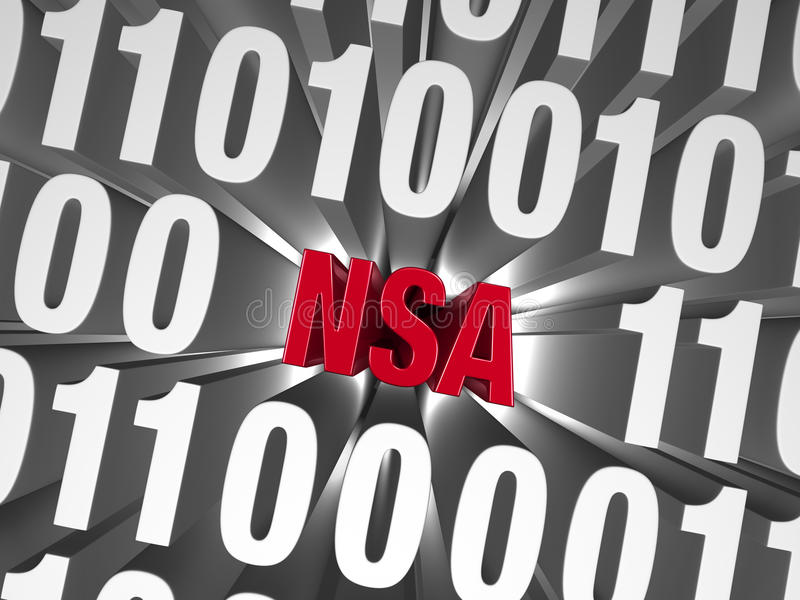 NSA Hiding in Computer Code. A small, red NSA is buried deep in a background of computer code vector illustration