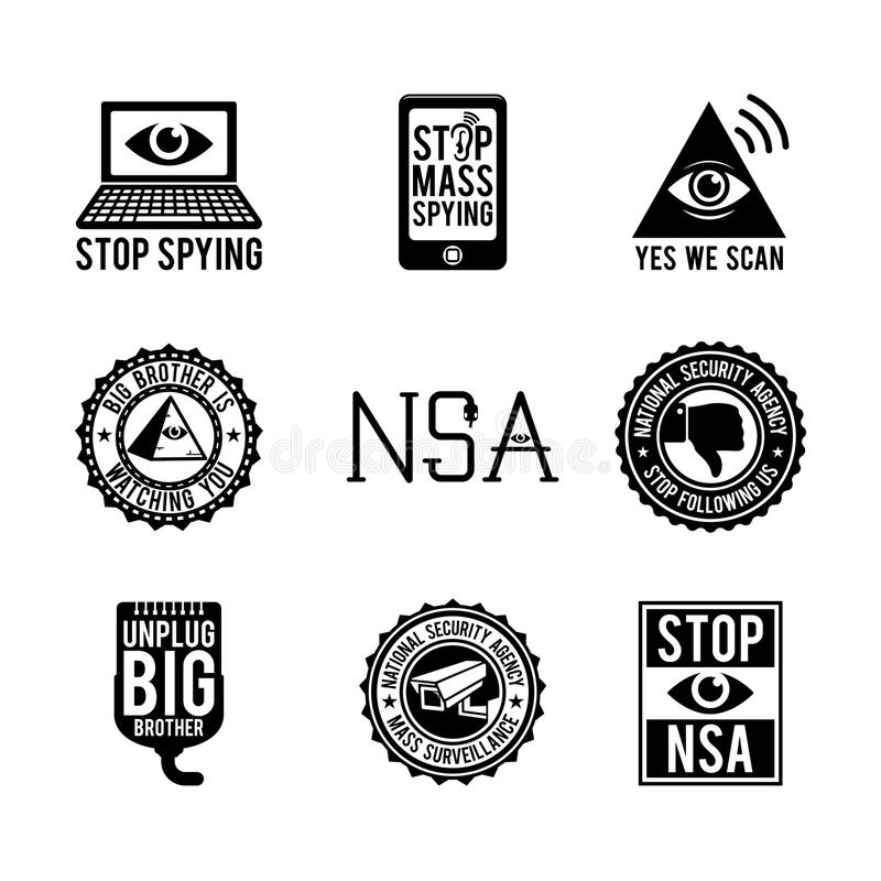 Nsa-symboler vektor illustrationer
