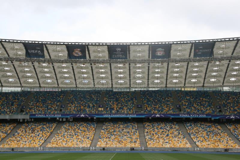 NSC olímpico, Kiev Antes do final da liga de campeões de UEFA fotografia de stock royalty free