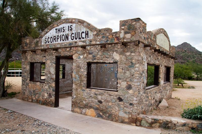 Phoenix Arizona Historic Landmark Scorpion Gulch. NScorpion Gulch store is located in South Mountain Park in south Phoenix, Arizona, on Central Avenue South stock photography