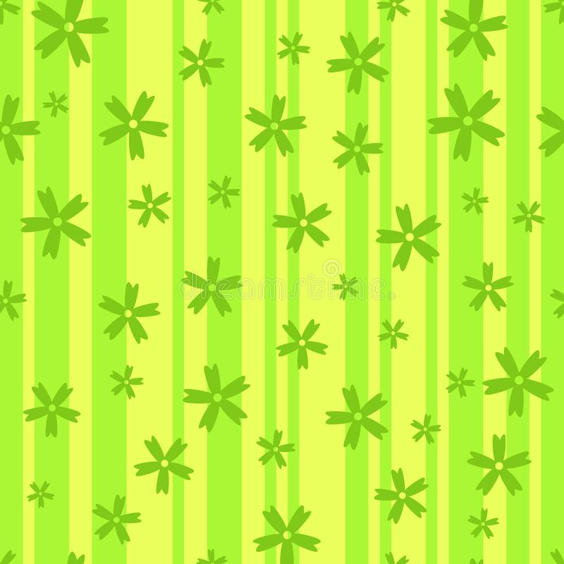 NSeamless background of flowers on the stripes. Seamless pattern of uncomplicated flowers on a striped background. Vector illustration vector illustration