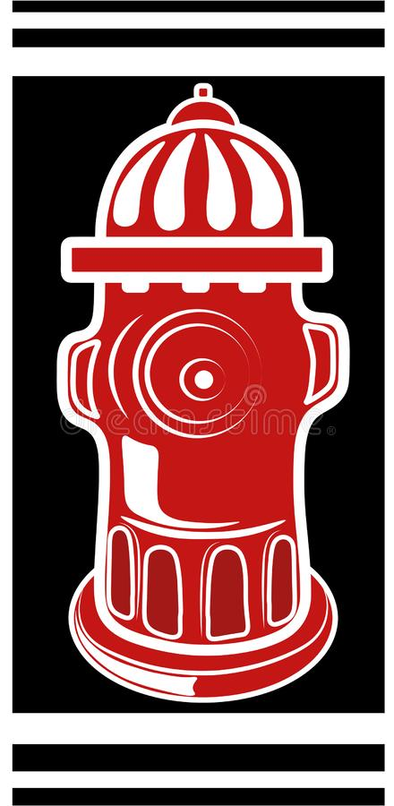 For fire hydrant. NStylization of a fireplug on a black background in classic red and white colors