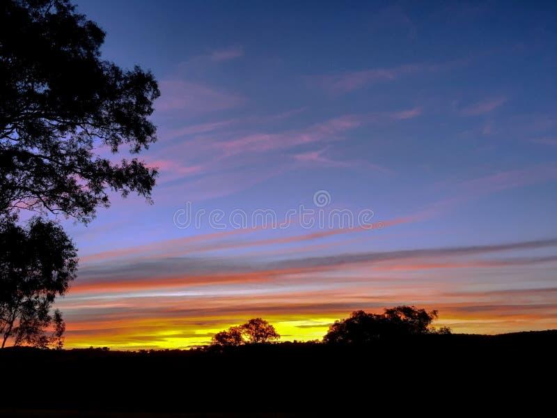 Nsw Australia del país de la puesta del sol foto de archivo libre de regalías