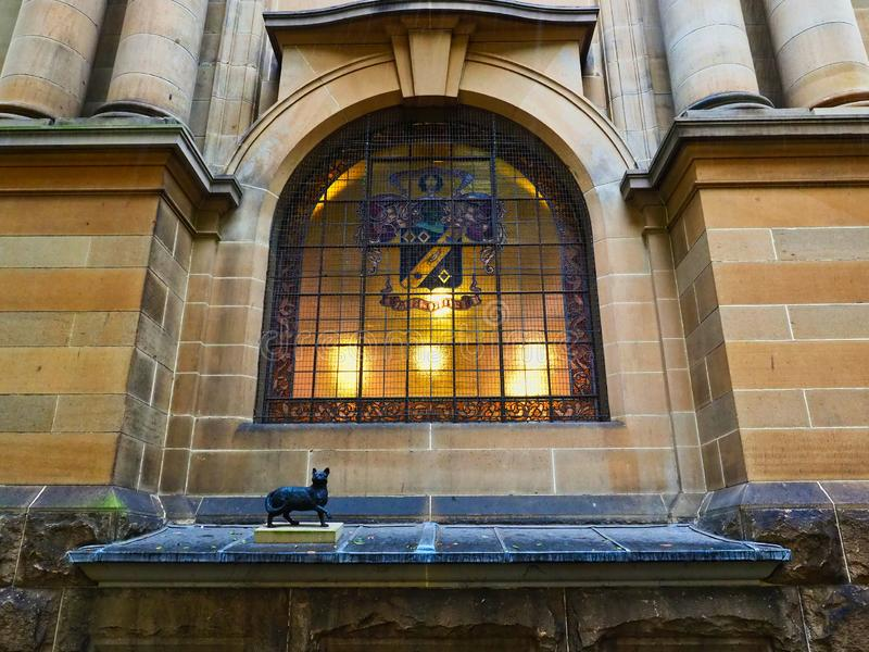 NSW State Library Old Annex Architectural Detail, Sydney CBD, Australia. Interior lights showing through the window of the historical NSW State Library, or stock photography