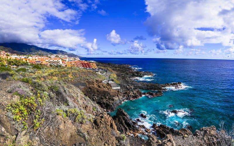 Natural beauty of unspoiled La Palma island. view of Los Cancajos. canary islands. Impressive volcanic landscape,La Palma island,Spain royalty free stock photos