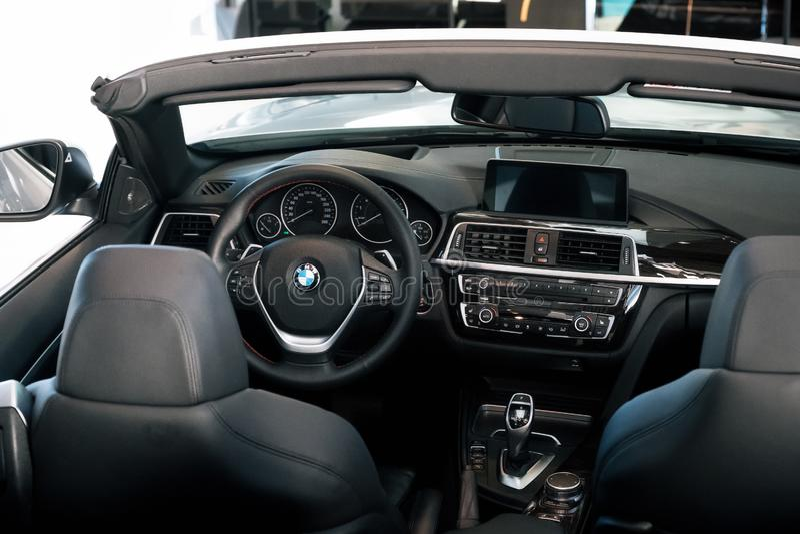 Nterior of BMW 430 cabriolet sports car. Munich, Germany - December 7, 2017: Interior of BMW 430 cabriolet sports car stock photos