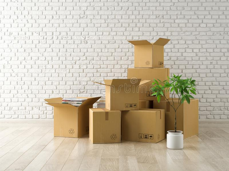 Interior with packed cardboard boxes for relocation 3D rendering. Nterior with packed cardboard boxes for relocation 3 D rendering vector illustration