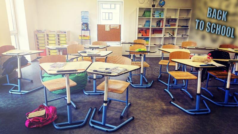 Nterior uczy kogoś sali lekcyjnej edukacji biurko nowożytnego szkoła, Z powrotem royalty ilustracja
