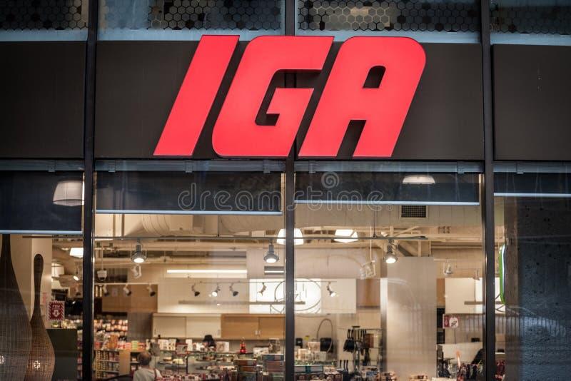 Ntrance de IGA Supermarket com seu logotipo Igualmente sabido como quitandeiros independentes Alliance, é um de supermercados ame fotos de stock