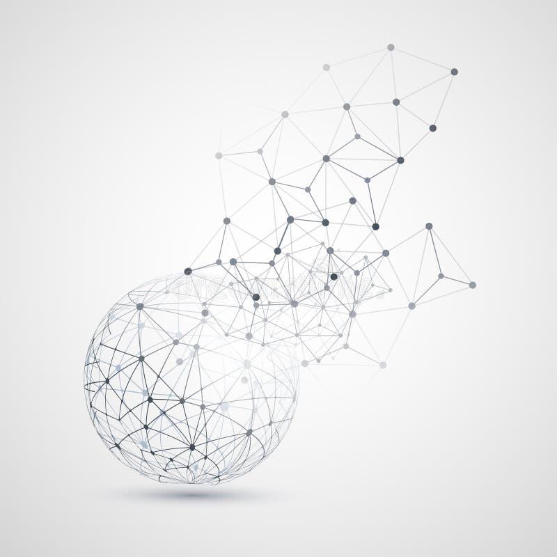 Nuage abstrait calculant et conception de l'avant-projet de connexions réseau avec la maille géométrique transparente, sphère de  illustration de vecteur