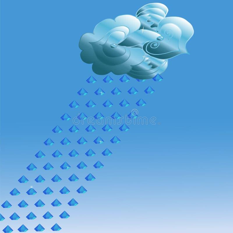 Nuage abstrait sur le fond bleu et pluie des pierres précieuses illustration stock