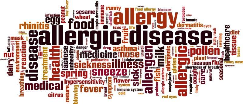 Nuage allergique de mot de la maladie illustration stock
