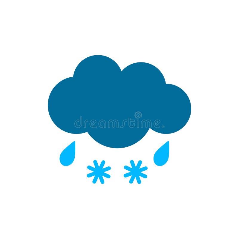 Nuage avec l'icône de pluie et de temps de neige Illustration plate de vecteur illustration stock