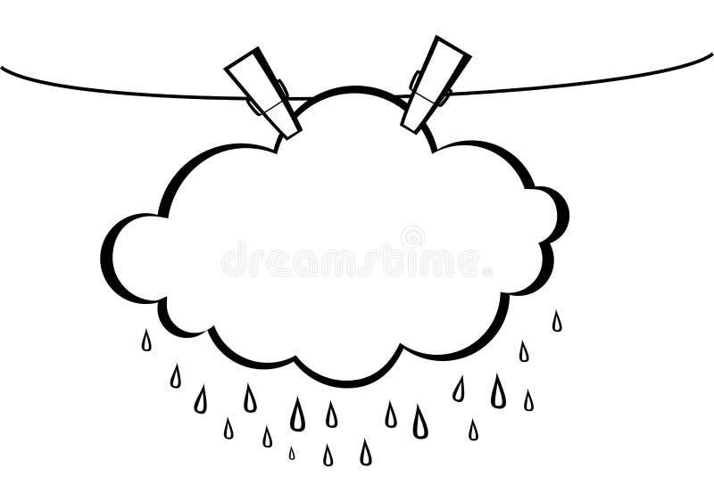 Nuage avec le coup de baisse de pluie sur une corde avec des pinces à linge Vecteur illustration de vecteur