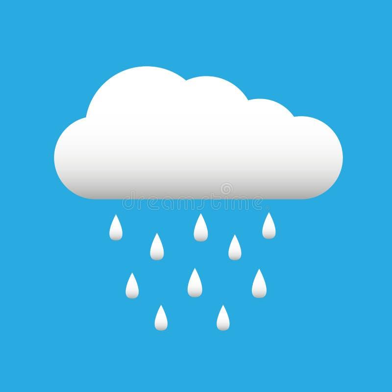 Nuage blanc avec l'icône de baisses, de ressort ou d'automne de temps de pluie sur le fond bleu illustration stock