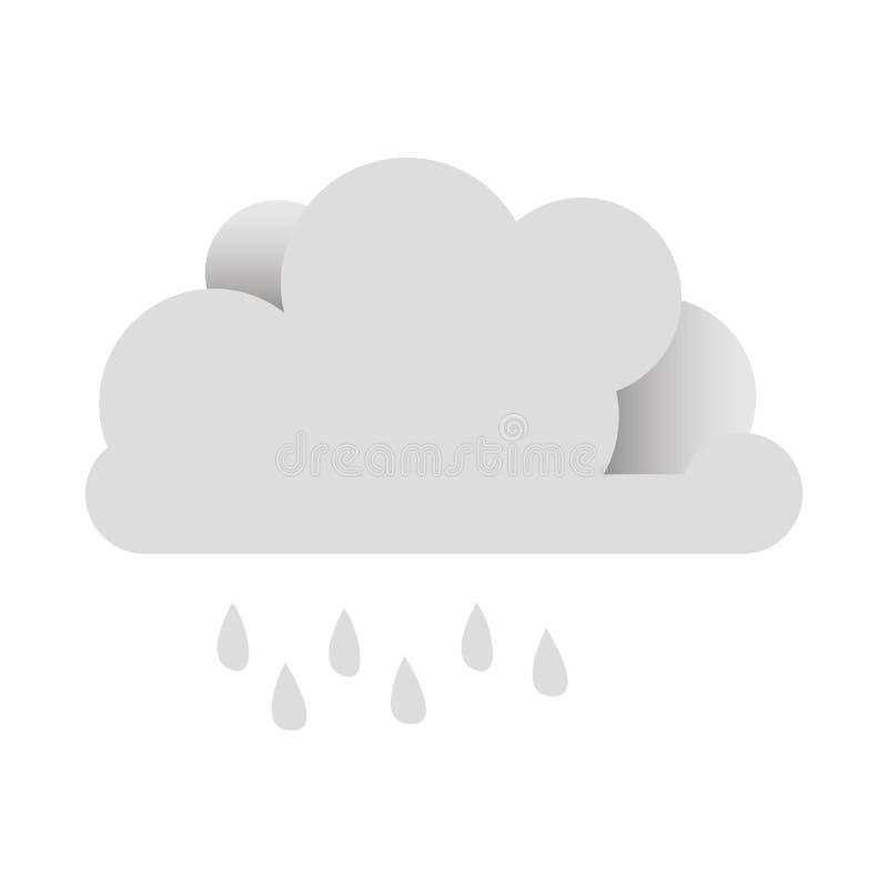 Download Nuage Blanc D'autocollant Avec L'icône De Pluie Illustration Stock - Illustration du météorologie, signe: 87707107