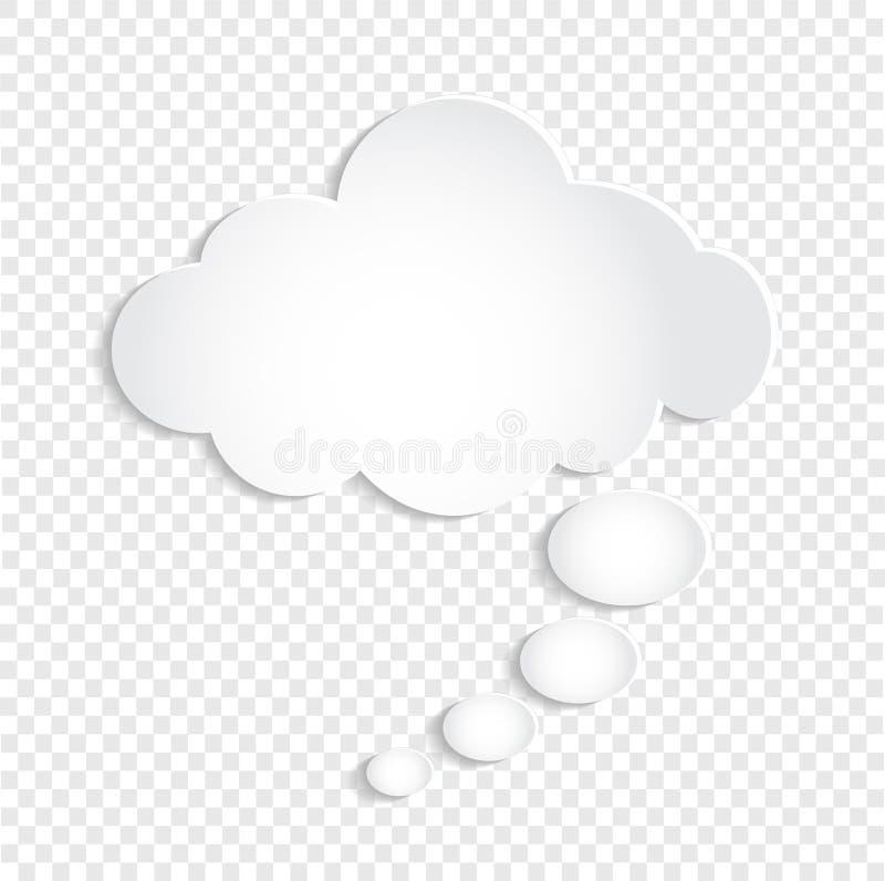 Nuage blanc de bulle de pensée sur le fond transparent, vect courant illustration libre de droits