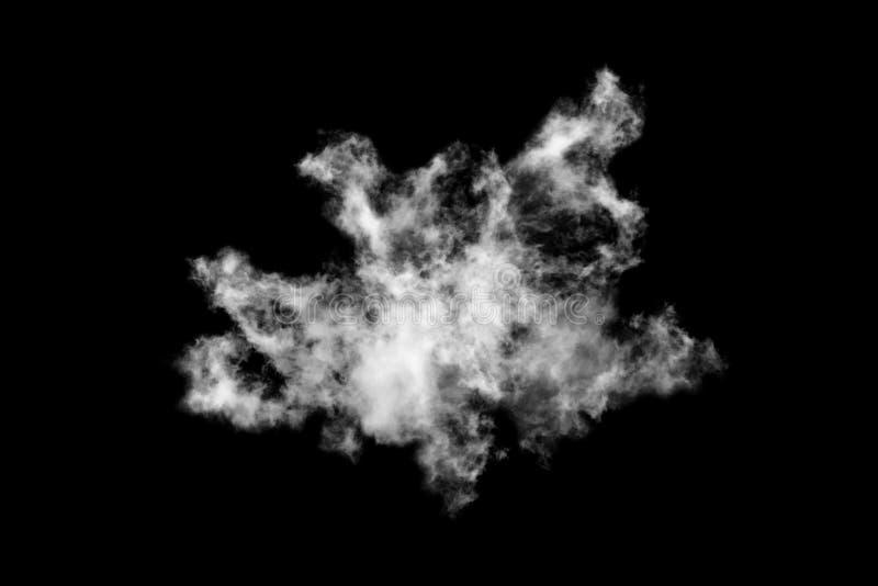 Nuage blanc isolé sur fond noir,Fumée texturée,Noir abstrait image stock