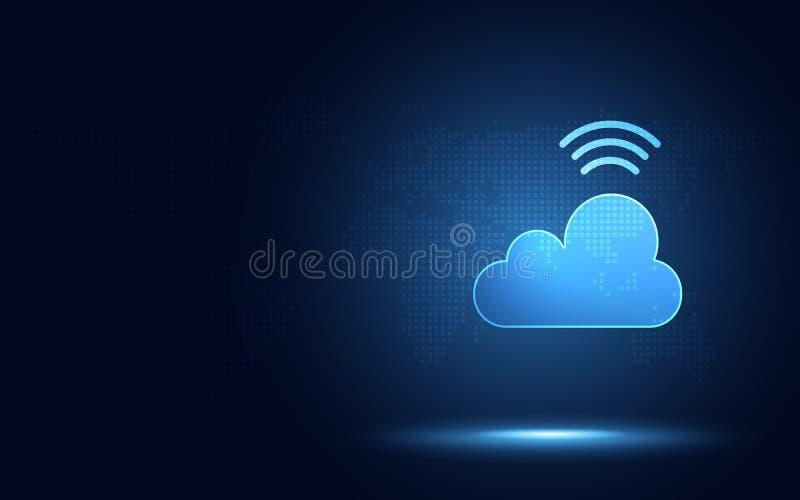 Nuage bleu futuriste avec le fond abstrait de technologie de transformation numérique sans fil de signal Intelligence et grand ar illustration stock