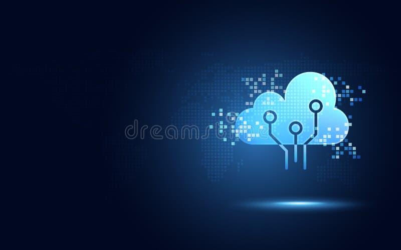 Nuage bleu futuriste avec le fond numérique de nouvelle technologie d'abrégé sur transformation de pixel Intelligence artificiell illustration libre de droits