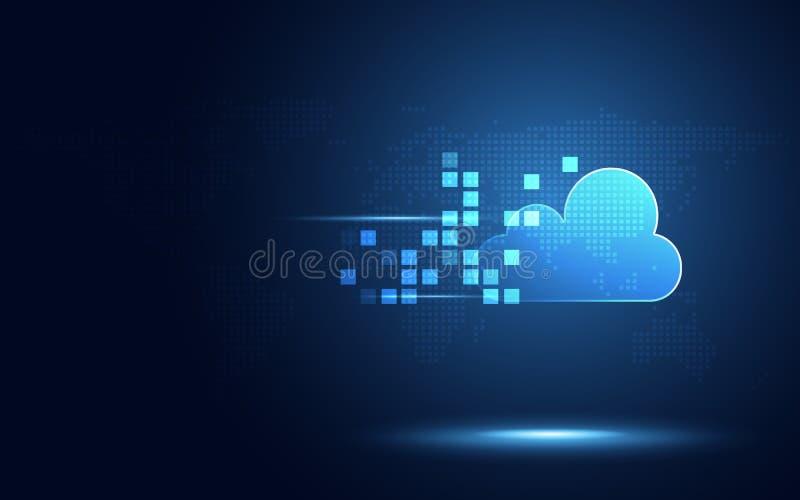 Nuage bleu futuriste avec le fond numérique de nouvelle technologie d'abrégé sur transformation de pixel Intelligence artificiell illustration stock