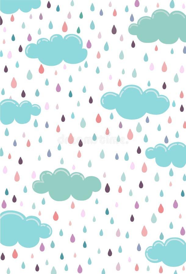 Nuage bleu le jour de la pluie tombant par les nuages illustration libre de droits