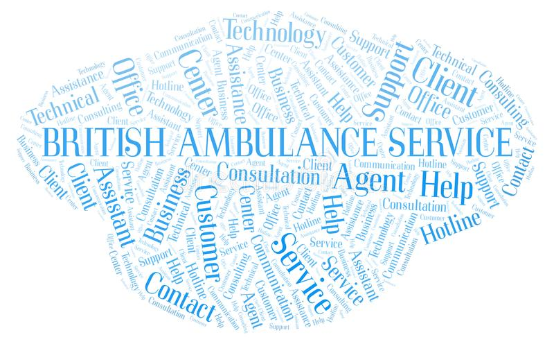 Nuage britannique de mot de service d'ambulance illustration de vecteur