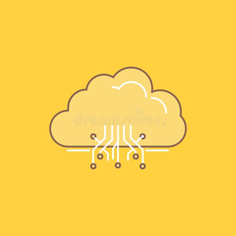nuage, calculant, données, accueillant, ligne plate icône remplie de réseau Beau bouton de logo au-dessus de fond jaune pour UI e illustration libre de droits