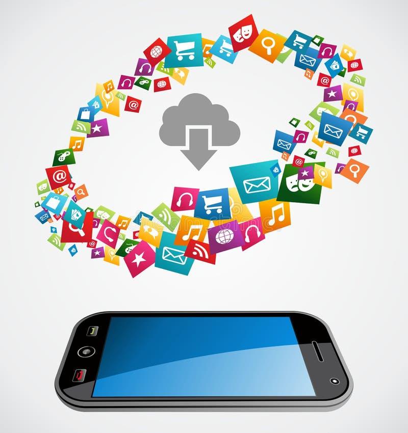 Nuage calculant l'application mobile illustration de vecteur