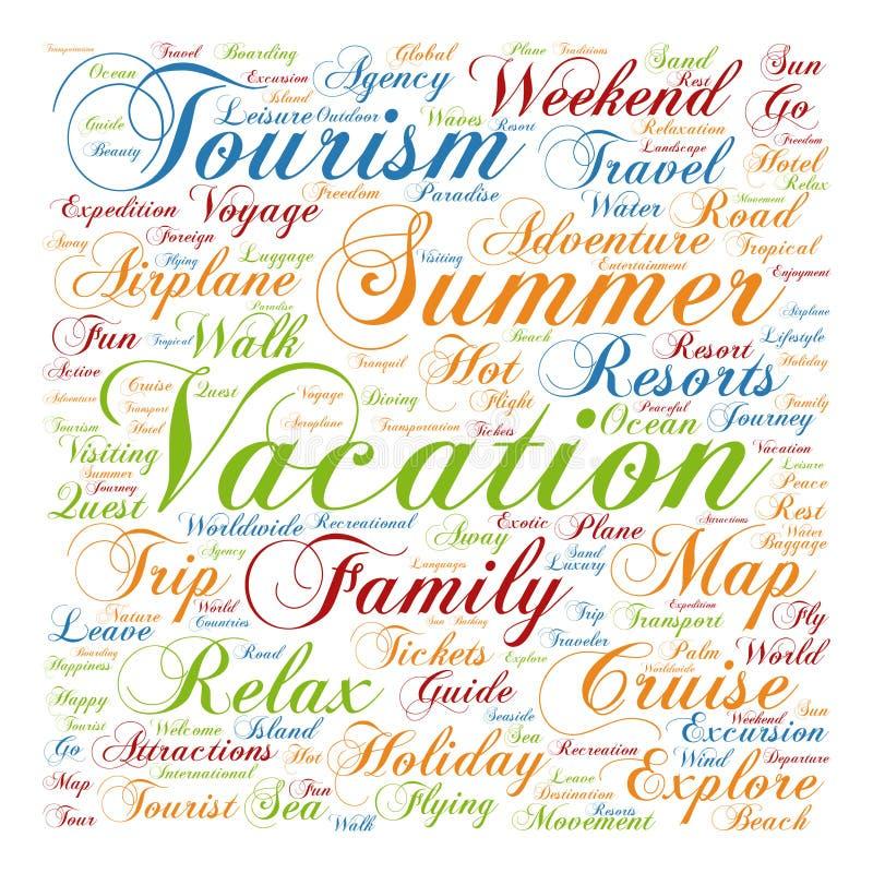 Nuage conceptuel de mot de tourisme ou de voyage illustration stock