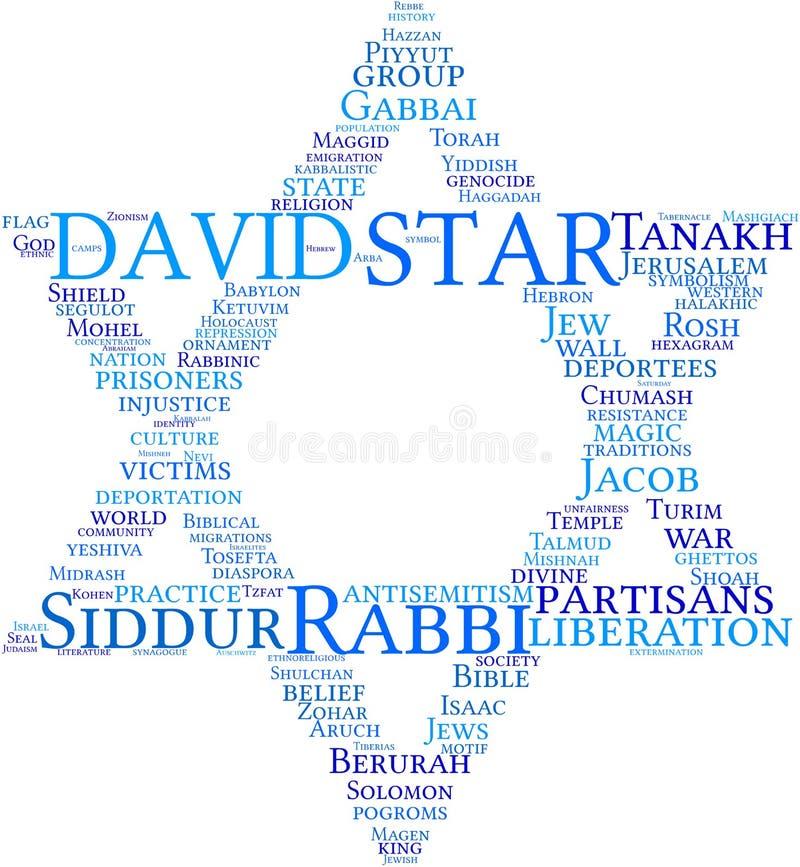 Nuage d'étiquette d'étoile de David illustration libre de droits