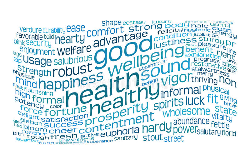 Nuage d'étiquette de bonne santé et de bien-être illustration libre de droits