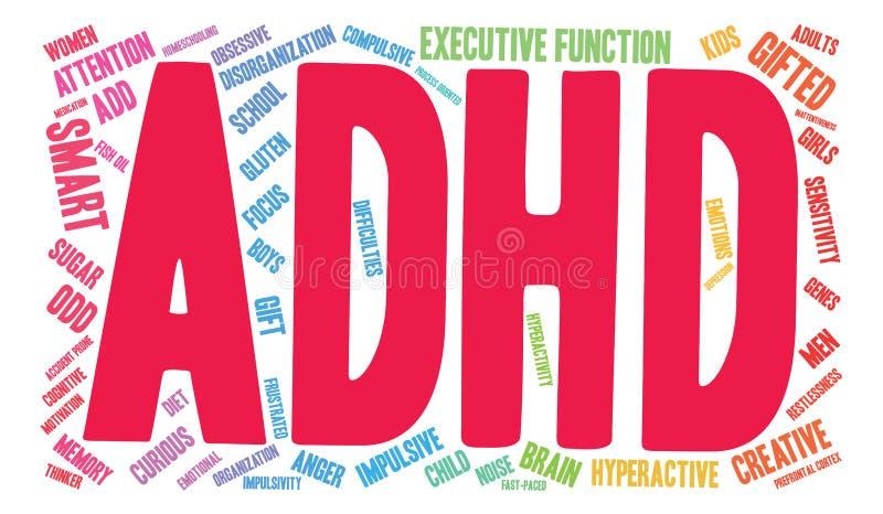 Nuage d'ADHD Word illustration stock