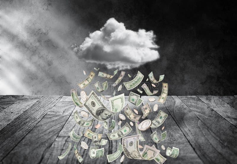 Nuage d'argent pleuvant l'argent photo stock