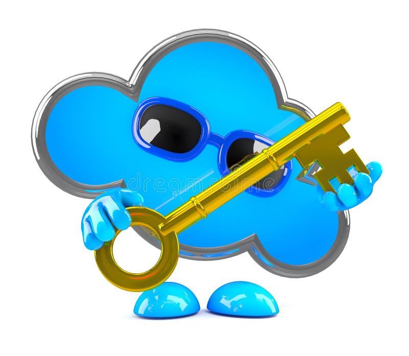 nuage 3d avec la clé d'or illustration libre de droits