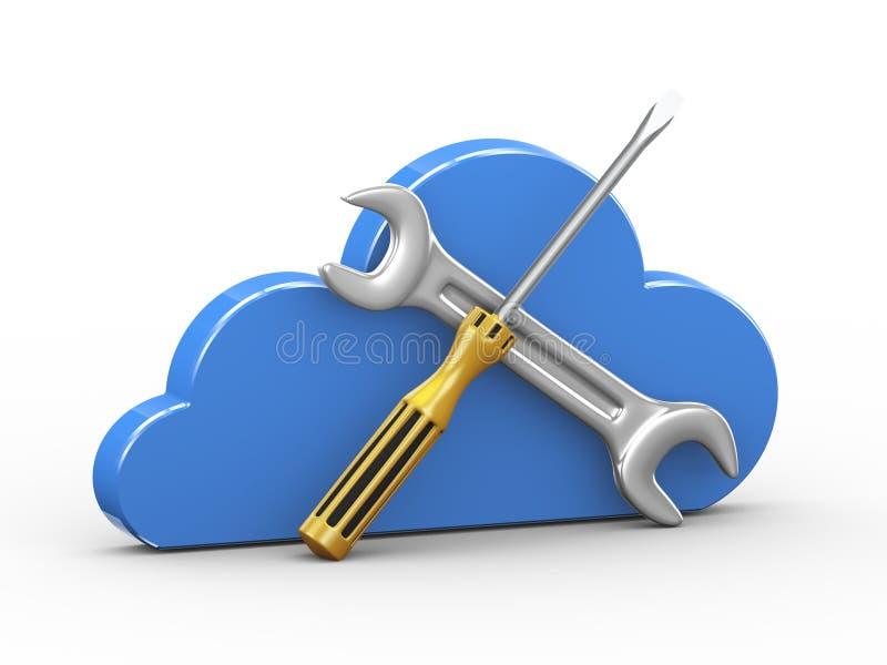 nuage 3d et outils de réparation illustration de vecteur