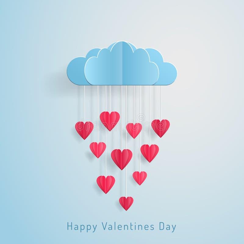 Nuage de ballon de jour de valentines de carte d'invitation d'amour avec la pluie de la coupe de papier de coeurs illustration libre de droits