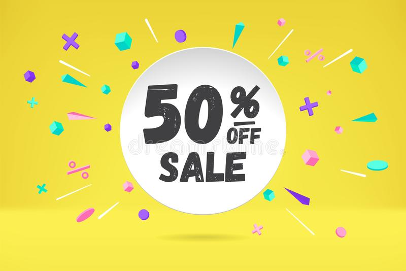 Nuage de bulle de livre blanc avec le texte 50 OUTRE de la vente de VENTE, bannière de achat de promo, conception de remise Affic illustration libre de droits