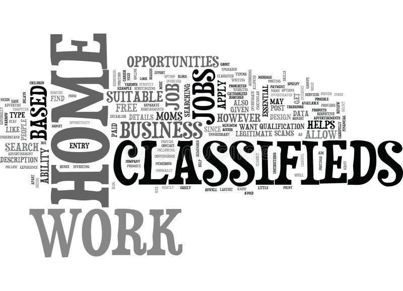 Nuage de Classifieds Word de travail à la maison illustration de vecteur